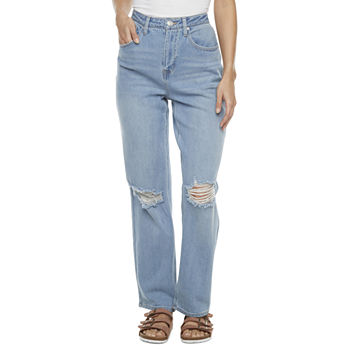 Rewind Womens High Rise Straight Ripped Relaxed Fit Jean - Juniors