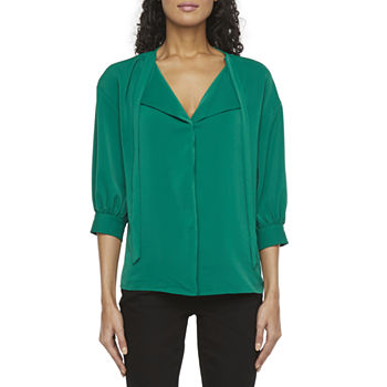 Worthington Womens Split Tie Neck 3/4 Sleeve Blouse