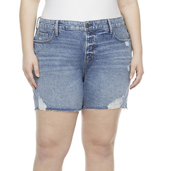 "a.n.a Womens High Rise 5"" Denim Short-Plus"