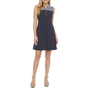 MSK Sleeveless Stripe Dot Swing Dress