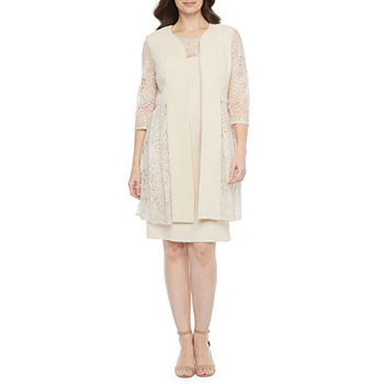 Maya Brooke ¾ Sleeve Embellished Jacket Dress