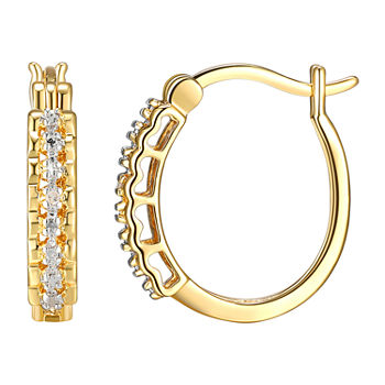 Sparkle Allure Diamond Accent 18K Gold Over Brass Round Hoop Earrings