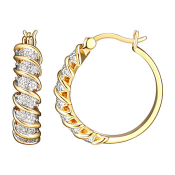 Sparkle Allure Diamond Accent 18K Gold Over Brass Curved Hoop Earrings