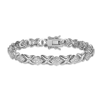 Sparkle Allure Fine Silver Plated Diamond Accent 7.25 Inch Oval Tennis Bracelet