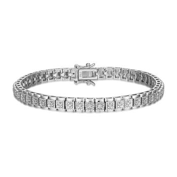 Sparkle Allure Fine Silver Plated Diamond Accent 7.25 Inch Round Tennis Bracelet