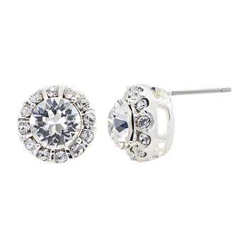 Sparkle Allure Swarovski Crystal Pure Silver Over Brass 12.1mm Round Stud Earrings