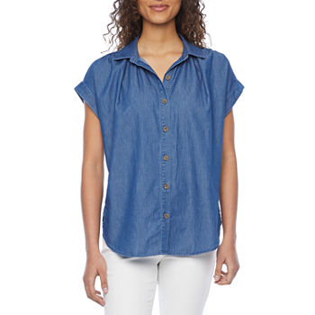 a.n.a-Tall Womens Short Sleeve Tunic Top