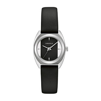 Caravelle Designed By Bulova Womens Black Leather Strap Watch-43l220