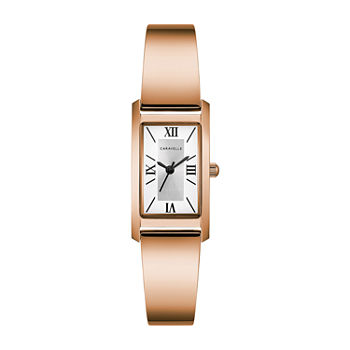 Caravelle Designed By Bulova Womens Rose Goldtone Stainless Steel Bangle Watch-44l264