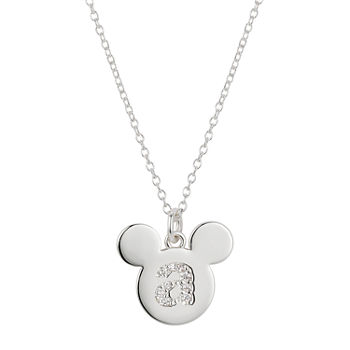 Disney Classics Cubic Zirconia 18 Inch Cable Mickey Mouse Pendant Necklace