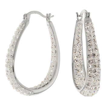 Sterling Silver Crystal Inside-Out Hoop Earrings