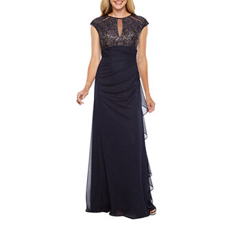 DJ Jaz Cap Sleeve Sequin Lace Top Evening Gown