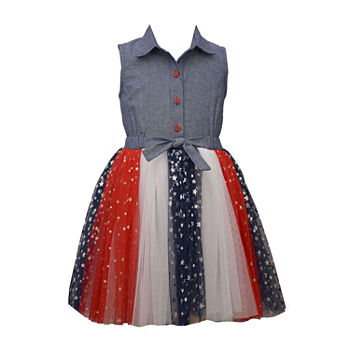 Bonnie Jean Americana Girls Sleeveless Shirt Dress