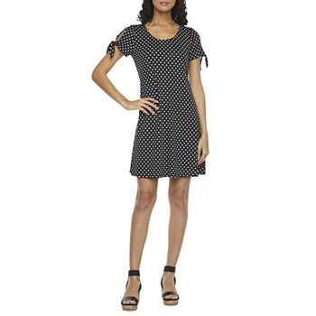 MSK Short Split Tie Sleeve Polka Dot Swing Dresses