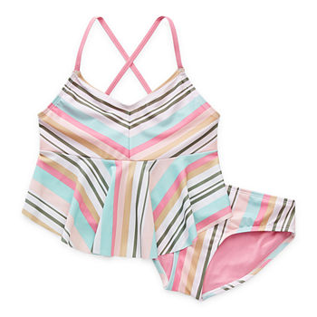 Arizona Little & Big Girls Striped Tankini Set
