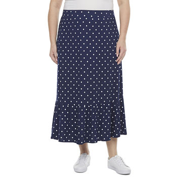 St. John's Bay Womens Tiered Midi Skirt-Plus