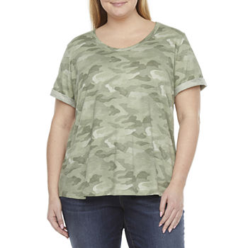 a.n.a Plus Womens Round Neck Short Sleeve T-Shirt