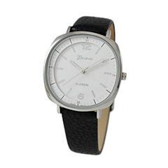 Geneva Platinum Womens Black Strap Watch-10029