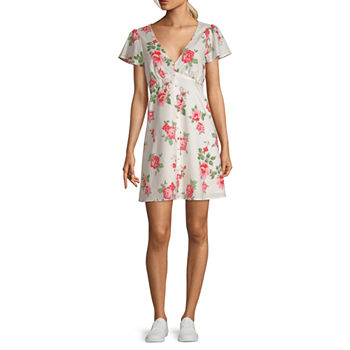 My Michelle Short Sleeve Babydoll Dress-Juniors