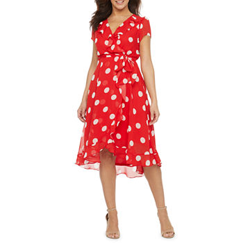 Danny & Nicole-Petite Short Sleeve Polka Dot Fit & Flare Dress