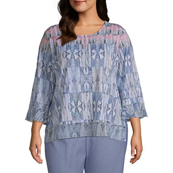 Alfred Dunner Bella Vista Womens Plus Round Neck 3/4 Sleeve T-Shirt