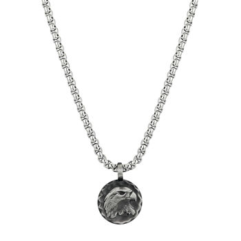 Footnotes J.P. Army Men's Jewelry Stainless Steel 24 Inch Cable Round Pendant Necklace