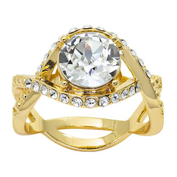 Sparkle Allure Swarovski Crystal 14K Gold Over Brass Round Cocktail Ring