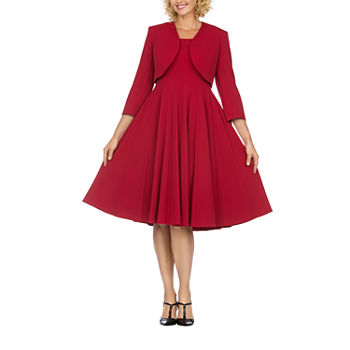 Giovanna Collection-Plus 3/4 Sleeve Midi Jacket Dress