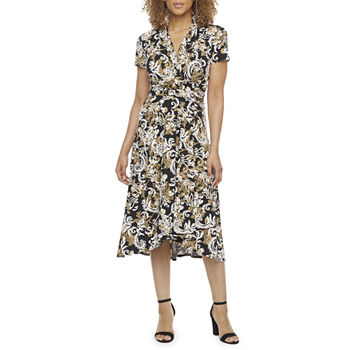 Perceptions Short Sleeve Scroll Puff Print Midi Fit & Flare Dress