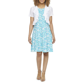 Perceptions Short Sleeve Floral Jacket Dress