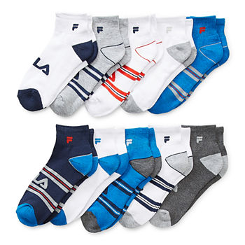 Fila Big Boys 10 Pair Quarter Socks