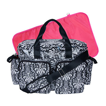 Trend Lab® Deluxe Duffle Diaper Bag-Midnight Fleur Damask