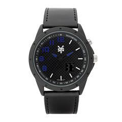 Zoo York® Mens Black Leather Strap Watch