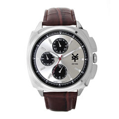 Zoo York® Mens Silver-Tone Brown Strap Watch