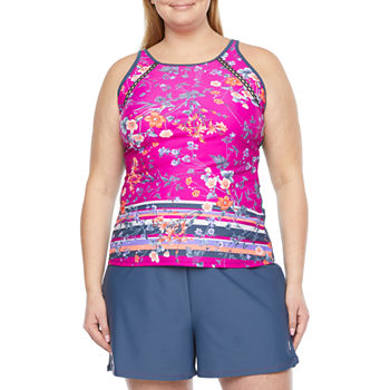 Free Country Floral Tankini Swimsuit Top Plus