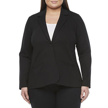 Worthington Womens Regular Fit Ponte Blazer-Plus