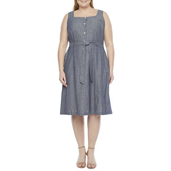 Liz Claiborne Sleeveless A-Line Dress-Plus
