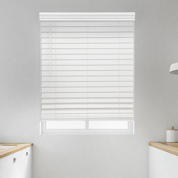 "Premium 2 1/2"" Cut-to-Width Cordless Faux Wood Blinds"