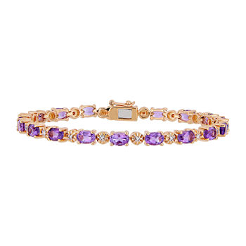 Diamond Accent Genuine Purple Amethyst 18K Rose Gold Over Silver Tennis Bracelet