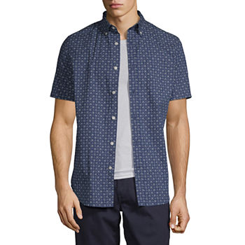 St. John's Bay Stretch Mens Short Sleeve Geometric Button-Down Shirt