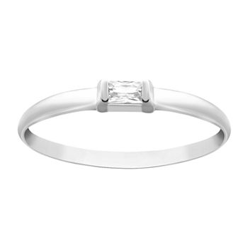 Itsy Bitsy Cubic Zirconia Sterling Silver Rectangular Band