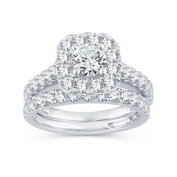 Womens 2 CT. T.W. Genuine White Diamond 10K White Gold Halo Bridal Set