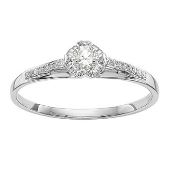 Promise My Love Womens 1/4 CT. T.W. Genuine White Diamond 14K White Gold Round Promise Ring