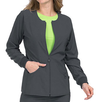 Med Couture Womens 8638 Zip Front Warm Up Scrub Jacket - Plus