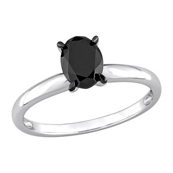 Womens 1 CT. T.W. Genuine Black Diamond 14K White Gold Oval Solitaire Engagement Ring