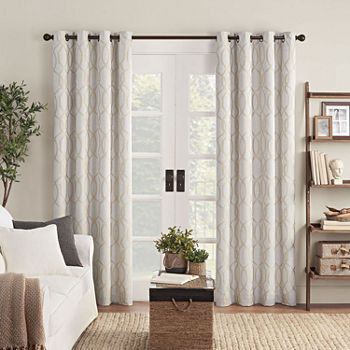 Eclipse Ambiance Lattice Draft Stopper Energy Saving 100% Blackout Grommet-Top Single Curtain Panel