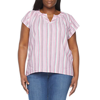 St. John's Bay-Plus Womens Split Crew Neck Short Sleeve Blouse