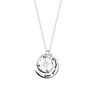 Footnotes Dream Sterling Silver 18 Inch Cable Round Pendant Necklace