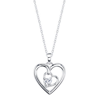Footnotes Mother and Daughter Clear Heart Pendant Necklace