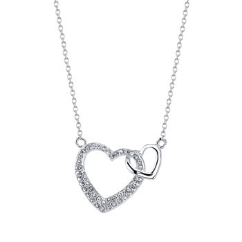 Footnotes Sisters Crystal Sterling Silver 18 Inch Cable Heart Pendant Necklace